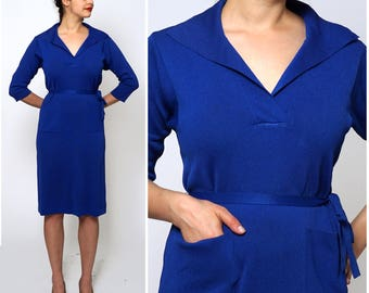 Vintage 1960s Royal Blue Knit Dress by Kimberly | Large/X-Large