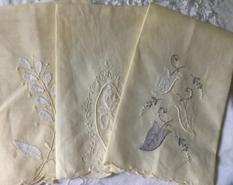 Vintage Towel, Vintage Tea Towel, Set of Three Tea Towels, Yellow