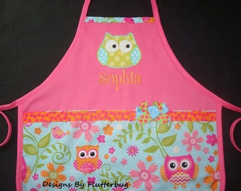 PERSONALIZED Kids Apron with Appliqued Owl - Pink, Green, Orange and Blue