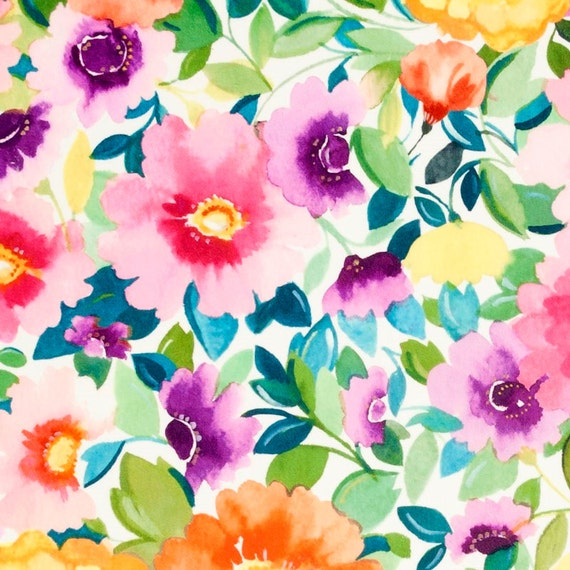 Go For Oversized Florals: Digital Print Floral Velvet Upholstery Fabric Modern Teal