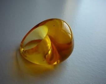 Vintage Transparent Orange Lucite Chunky Mod Ring Size 6 1/2
