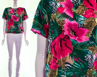 Vintage 80s TROPICAL Silk Blouse Plumerias Flowers Floral Magenta Green Bright Top Small