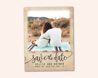 "Save The Date Magnet, Rustic Script Magnet, Wedding Save The Date, Elegant Save The Date Magnet, 4.25"" x 5.5"" Photo Magnets (STDM18)"