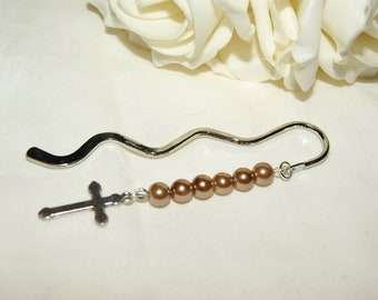 Cross Charm Bookmark - Coffee