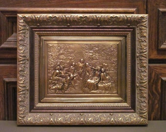 Nymphs. Painting of cooper in wooden frame