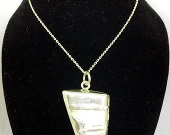 CLEARANCE SALE Queen Nefertiti Egyptian Pharaohs Sterling Silver Pendant, Sterling Silver Necklace, Egyptian Jewelry. Egyptian Antique