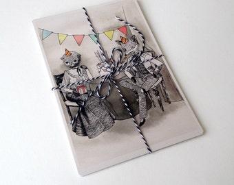 "Birthday Postcard - ""La Grande Party"" - pack of 4"