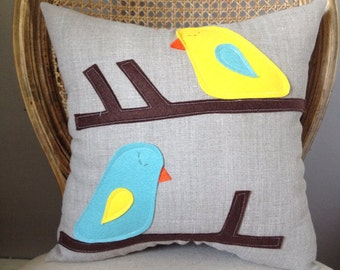 Hello Up There Bird Pillow in Yellow and Robin Egg Blue