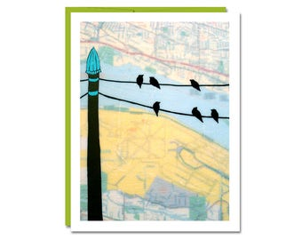 Birds on Wire Art Card // Blank Notecard with Portland Map