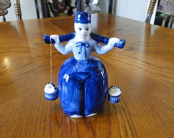 Vintage Handpainted Delft Blue Girl Figurine, D.A.I.C Holland Milk Maid, Traditional Dress, Carrying Buckets