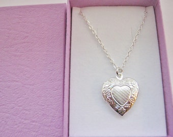 "Child Heart Locket Pendant Necklace 20mm (3/4"") Silver Plated Chain Girls Locket Child Kids Stocking Stuffer Filler Jewellery"