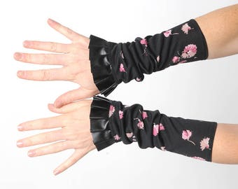 Long ruffled cuffs, Black and pink floral jersey cuffs with black pleather ruffle, Womens accessories, Gift for her, MALAM