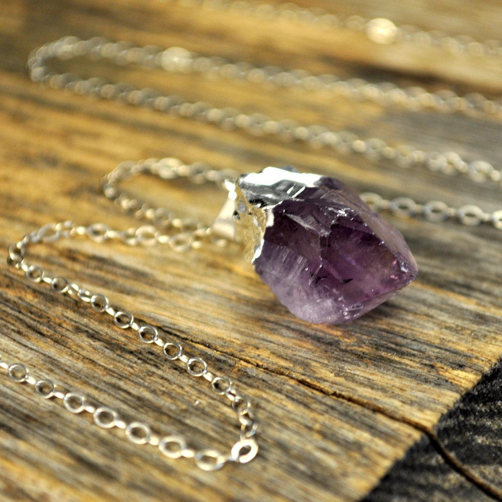 Amethyst necklace amethyst pendant necklace amethyst silver amethyst necklace amethyst pendant necklace amethyst silver necklace raw amethyst point necklace sterling silver chain aloadofball Gallery