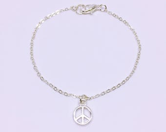 Silver Plated Peace Sign Charm Bracelet