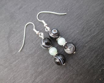 Zoned agate and amazonite gemstones earrings