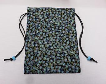 Petite Blue Floral, Lined in Silk, Handmade Tarot Pouch, Tarot Bag 5 x 7