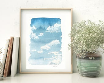 Clouds and blue sky wall art. Watercolor sky art print. White clouds art work . Blue sky with white clouds watercolour painting. Cloudy skie