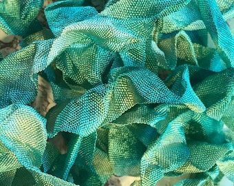 EVERGREEN BOUGH Crinkle Seam Binding Ribbon Crinkly Stained Hand Dyed Ribbon by Starry Nites Farm