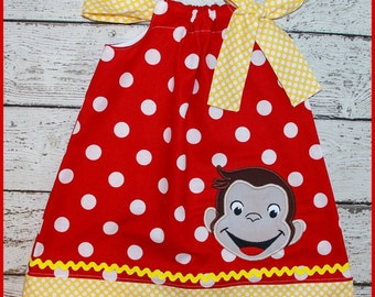Curious George Monkey Pillowcase style dress red polka dot and yellow