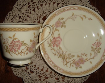 """Royal Doulton - Romance Collection """"Lisette""""  Vintage Tea Cup and Saucer - Fine Bone China - Pink and Brown Floral and Band"""