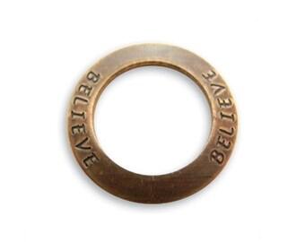 2 BELIEVE Affirmation Rings, Vintaj Natural Brass  (P123)