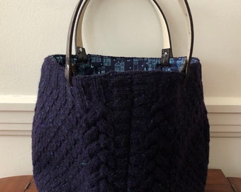 Navy Cable Felted Tote Bag