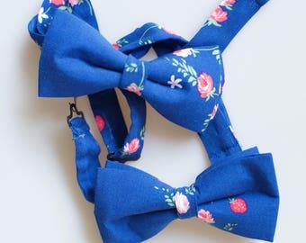 Blue Strawberry-Rose Bowtie
