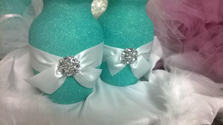 Aqua Wedding Centerpiece Wedding Vase Centerpiece Glitter