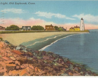Linen Postcard, Old Saybrook, Connecticut, Inner Light, 1958