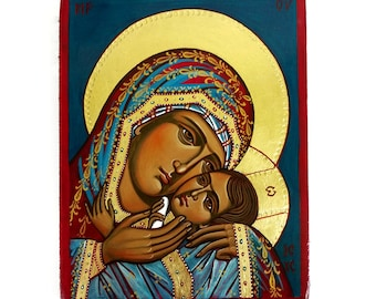 Virgin Mary and Christ child, Eleusa Icon,  10 x 7 1/2 inches