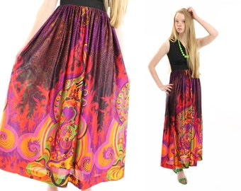 Vintage 70s Maxi Dress NOS Abstract Graphic Multicolor Black Sleeveless Small S XS Womens Spring Fashion Paisley Floral