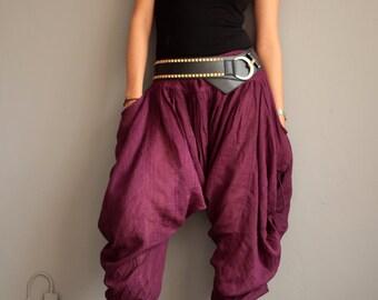 Harem Pants (428) long pants.Linen/cotton One size fit M-L size Boho/chic/funky/drawstring/black/linen/cotton/Red/green/brown