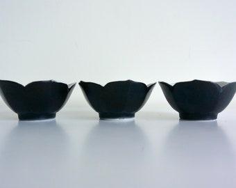 Small Black Porcelain Lotus Bowls - Set of 3