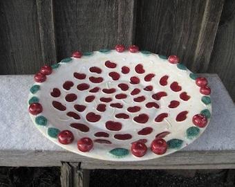 Large handmade platter with cherries, ceramics, pottery, cake stand, plate, stoneware, red, white