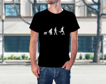 Mens Soccer Shirt - Unique Mens T-Shirt - Soccer Coach Gift - Soccer Game Shirt - Funny Guys T-Shirts - Evolution of Soccer