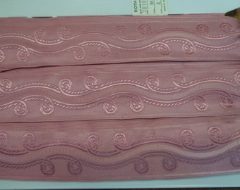 "Vintage (1970s) 1 3/4"" Wide Jacquard Trim with Scroll Design, Dusty Rose Pink (1 Yd)"