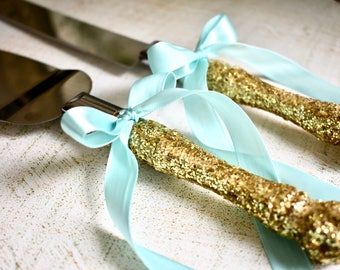 Gold wedding cake knife and server set- FREE shipping , wedding cake topper, wedding decorations, bridal shower gift, wedding accessories