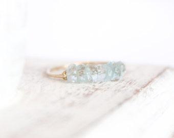 Aquamarine Bead Bar Ring - March Birthstone Ring - Stacking Ring - Light Blue Ring - Aquamarine Jewelry - Gemstone Ring - Birthstone Jewelry