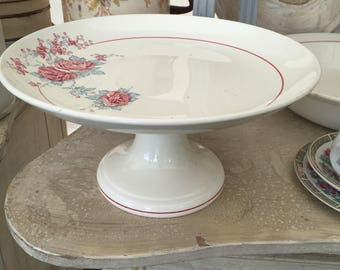 Beautiful Vintage French Pottery Cakestand. Rose decorated Cakestand. Meat stand. St. Amand Pottery Cakestand.