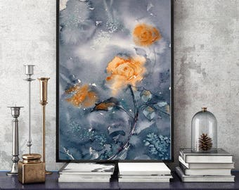 Flowers print canvas Watercolor floral art Roses wall art