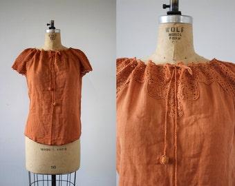 vintage 1970s blouse / 70s india cotton blouse / 70s burnt orange gauzy shirt / 70s crochet top / 70s boho blouse / festival shirt / M L