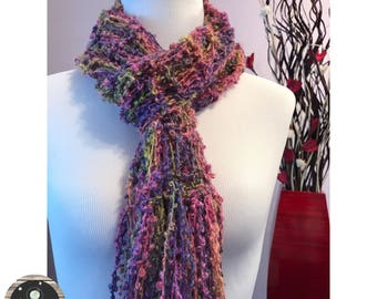 Hand Knit Ladies Fashion Scarf with fun texture of mixed summer colors Pinks, Purples, Yellows and Blues