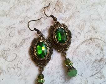 Gothic Earrings Antiqued gold Bronze  with Green Stone - Victorian Filigree Goth Emerald Green Earrings Gothic Filigree Ornate Earrings