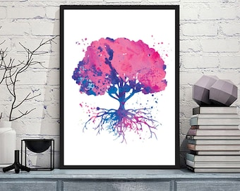 Tree of Life Watercolor, Tree of Life Wall Art, Tree of Life Art Print, Nature art, Meditation Art, Housewarming Gift, Tree Of Life Decor