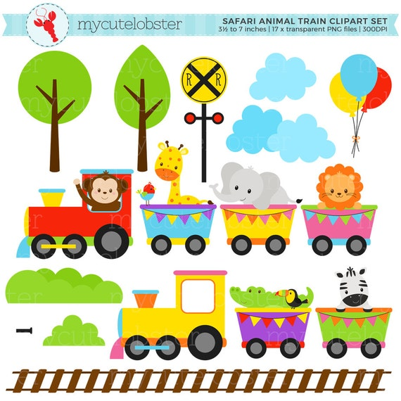 Animal Train Clipart Set clip art set of animals train