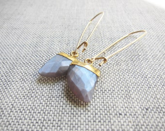 Moonstone Earrings,Moonstone Earrings Gold,Coffee Moonstone Earrings Gold,Tusk Earrings Gold,Moonstone Drop Earrings,Gemstone Drop earrings