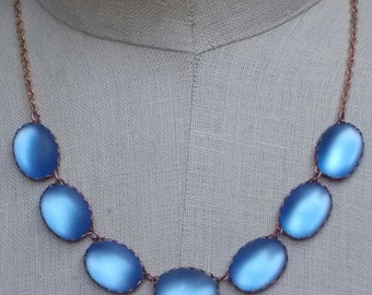 Vintage Collet Necklace, Blue Rhinestone Necklace, Wintour Inspired Necklace, Georgian Inspired Jewelry, Vintage Assemblage Jewelry