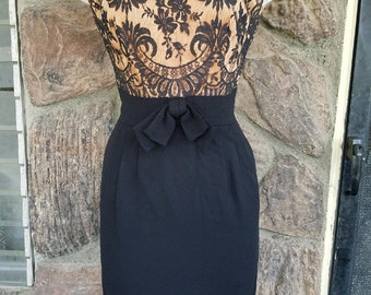Vintage 1950's Champagne and black lace dress
