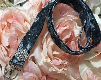 Black Sparkle Lanyard~Keys, Badges, ID Holder