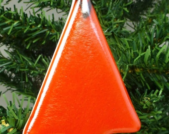 Fused Glass Christmas Tree - Contemporary Style - Iridescent Orange